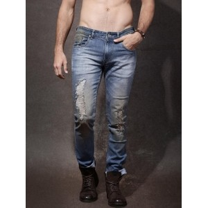 Roadster Blue Skinny Fit Distressed Jeans