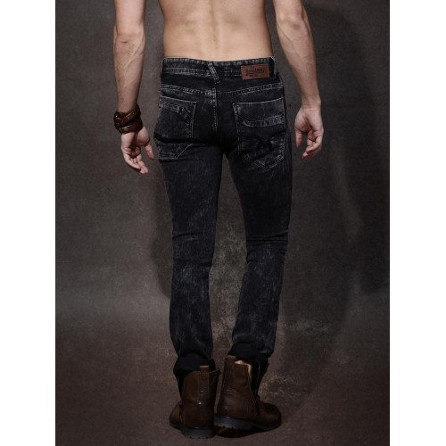 Roadster Black Skinny Fit Distressed Jeans