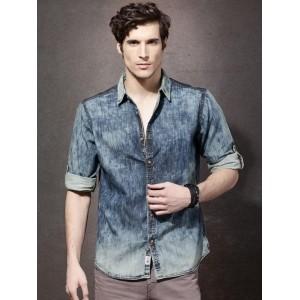 Roadster Blue Cotton Regular Fit Acid Wash Denim Shirt