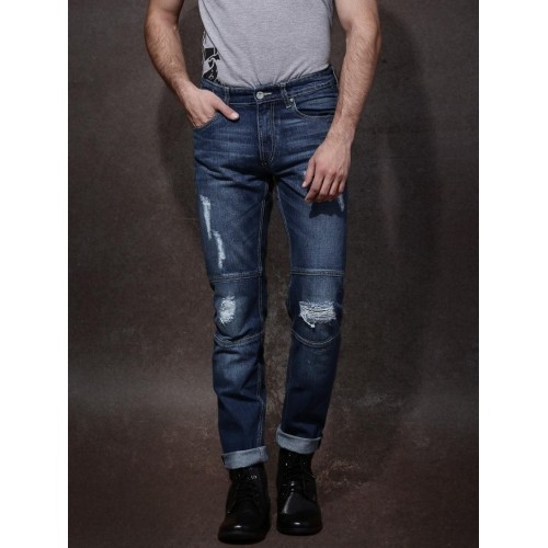 Roadster Blue Washed Ripped Slim Fit Jeans