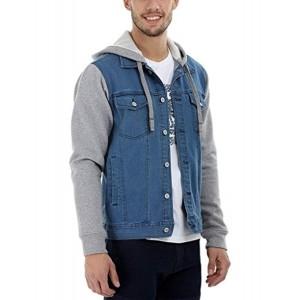 Zobello Blue & Gray Full Sleeve Hooded Men's Denim Jacket