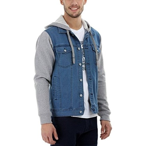 Zobello Blue & Gray Full Sleeve Hooded Men's Denim Jacket