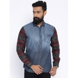 Locomotive Blue Cotton Washed Denim Casual Shirt With Printed Sleeves