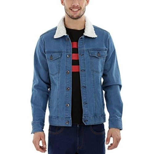 Zobello Indigo Full Sleeve Sherpa Collar Men's Denim Jacket