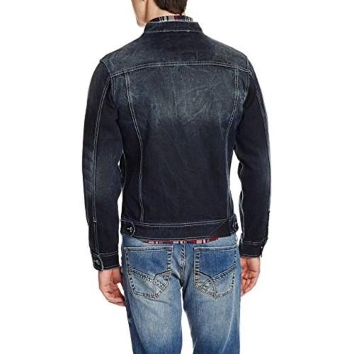 Flying Machine Blue Washed Cotton Men's Jacket