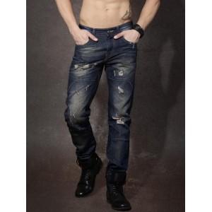 RDSTR Blue Tapered Fit Washed Mildly Distressed Jeans