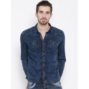 Numero Uno Navy Blue Cotton Slim Fit Denim Shirt