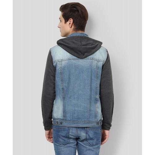 Yepme Blue Washed Full Sleeves Hooded Men's Denim Jacket