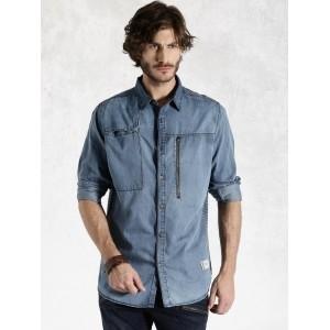 RDSTR Blue Cotton Woven Denim Casual Shirt