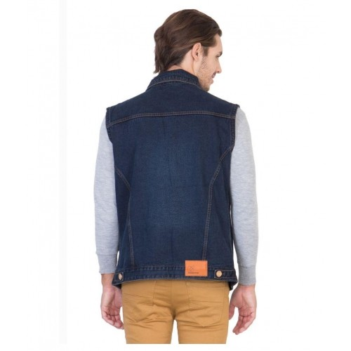 Krossstitch Navy Blue Sleeveless Men's Denim Jacket