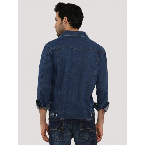 Zobello Navy Blue Solid Contemporary Cowboy Denim Jacket