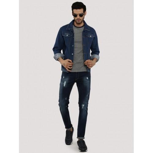 Zobello Navy Blue Solid Contemporary Cowboy Denim Jacket