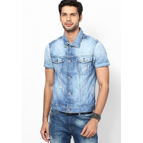 Buy Jack & Jones Blue Half Sleeve Washed Men's Denim Jacket online ...