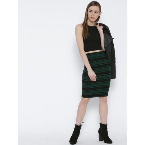 eb98af3e8266 Buy FOREVER 21 Green & Black Striped Pencil Skirt online | Looksgud.in