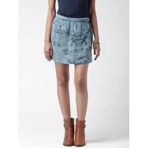FOREVER 21 Blue Printed Lyocell A-Line Skirt