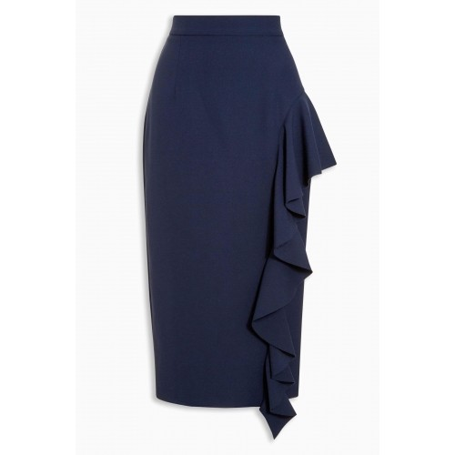 Next Blue Solid Ruffle Polyester Pencil Skirt