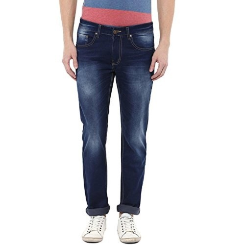 American Crew Dark Blue Cotton Denim Straight Fit Jeans