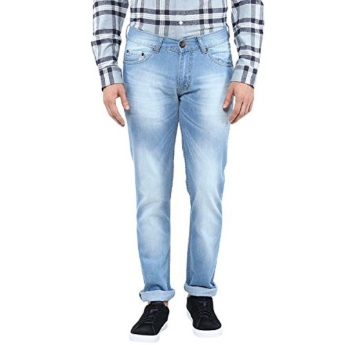 American Crew Sky Blue Cotton Denim Solid Straight Fit Jeans