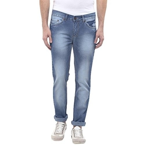 American Crew Light Blue Cotton Denim Straight Fit Jeans