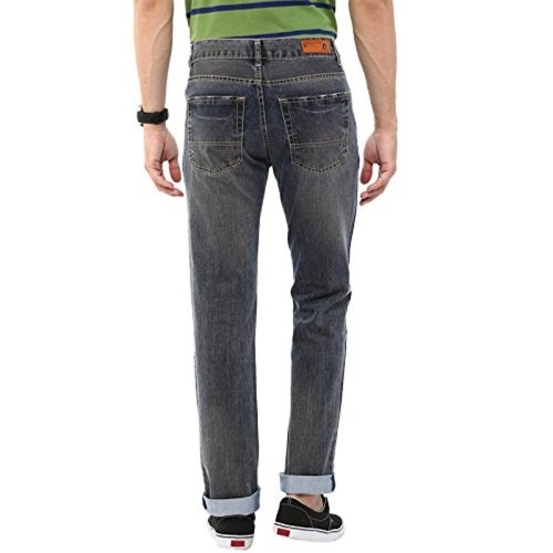 American Crew Gray Cotton Denim Side Ripped Straight Fit Jeans