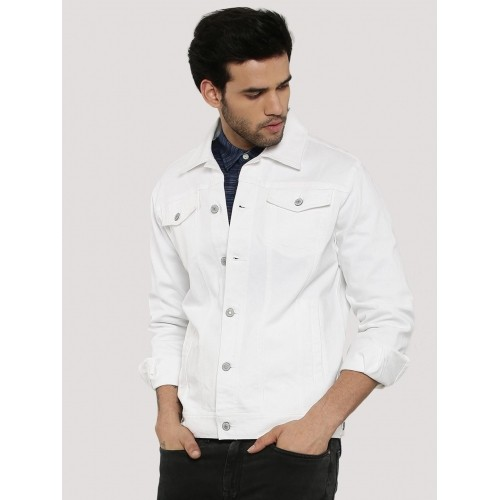 Zobello White  Solid Contemporary Cowboy Denim Jacket