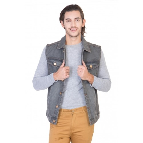 KROSSSTITCH Gray Sleeveless Washed Men's Denim Jacket