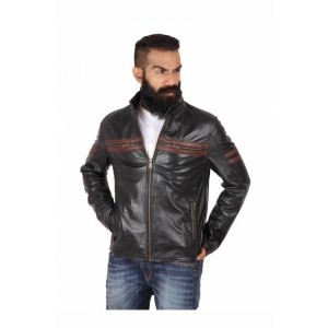 Theo&Ash Black Genuine Leather Full Sleeves Jackets