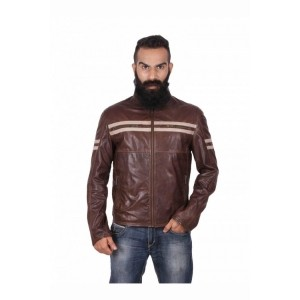 Theo&Ash Coffee Solid 100% Genuine Leather Jacket