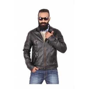Theo&Ash Black Full Sleeves Genuine Leather Jackets