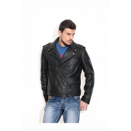 Theo&Ash Black Genuine Leather Full Sleeves Jackets