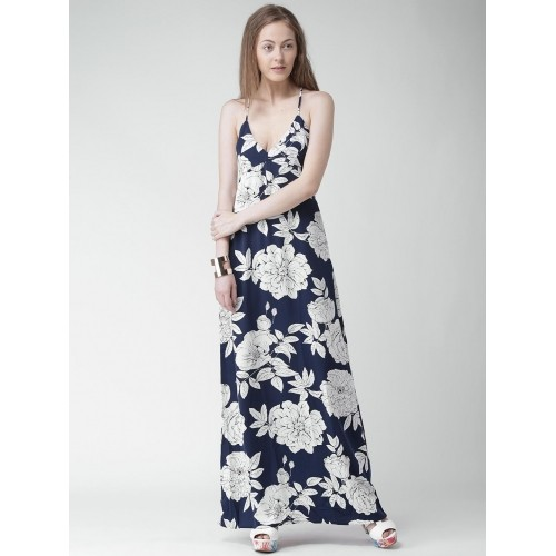 Buy Forever 21 Navy Blue Floral Print Polyester Maxi Dress Online