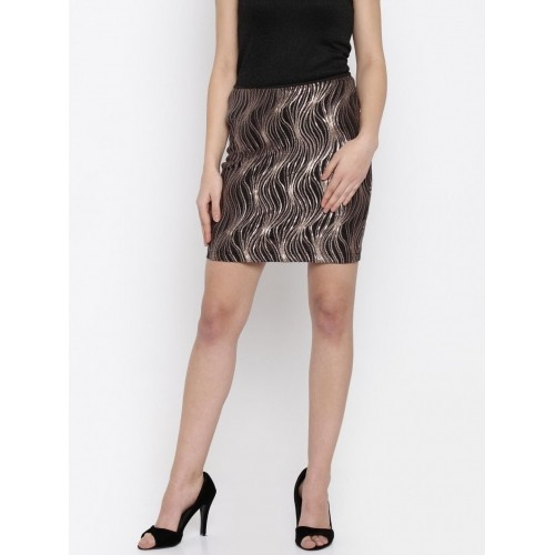 Only Black & Copper-Toned Sequined Mini Skirt