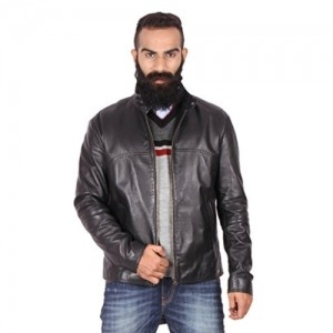 Theo & Ash Black Solid 100% Genuine Leather Jacket
