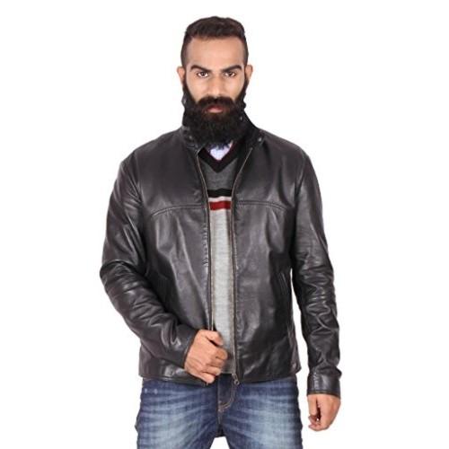 Theo & Ash Black Solid 100% Genuine Leather Jacket