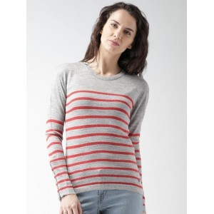 Mast & Harbour Grey & Red Striped Acrylic Printed Sweater