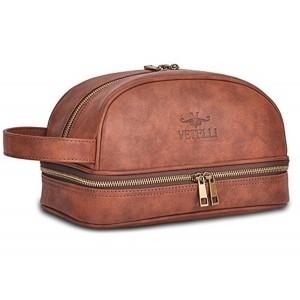 Vetelli Tan Leather Toiletry Bag For Men