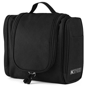 Black Rubber Solid Toiletry Bag For Men