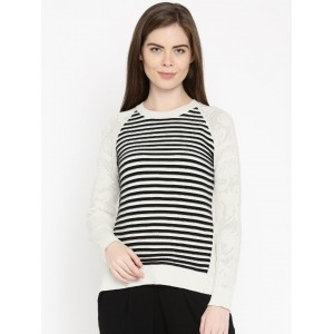 DressBerry White & Black Cotton Striped Raglan Sleeve Sweater