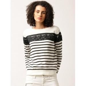 DressBerry Black & White Cotton Lace Striped Sweater