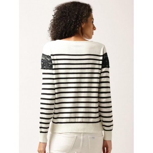 DressBerry Black & White Cotton Lace Striped Sweater