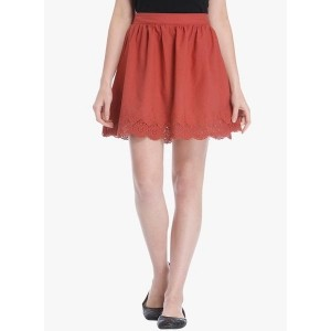 Only Red Cotton Solid Regular Fit Skirt