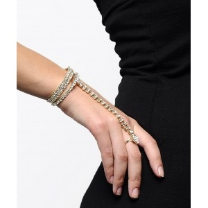 Shining Diva Alloy Cubic Zirconia Ring Bracelet