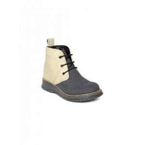 Arden by Knotty Derby Navy & Beige Textured Boots