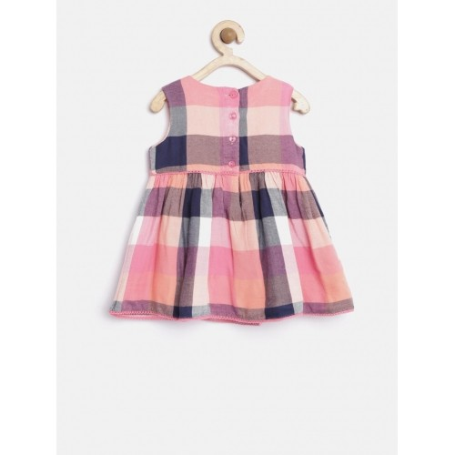 Nauti Nati Girl's Peach-Coloured Checked Fit & Flare Dress