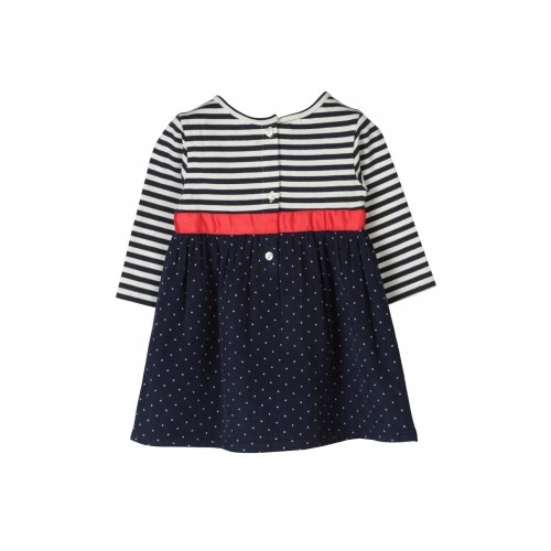 Beebay Girl's Navy & White Striped A-Line Dress