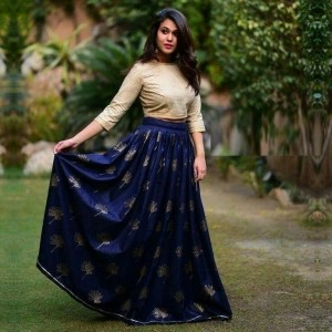 Navy Blue Silk Embroidered Lehnega