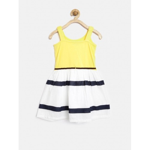 Palm Tree By Gini & Jony Girls Yellow & White Fit & Flare Dress