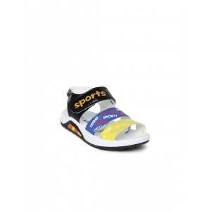 Kittens Boys Yellow & Blue Printed Sports Sandals