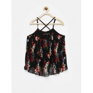 Giny & Jony Girl's Black Floral Print Strappy Top