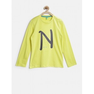 United Colors of Benetton Boys Lime Green Printed Round Neck T-shirt